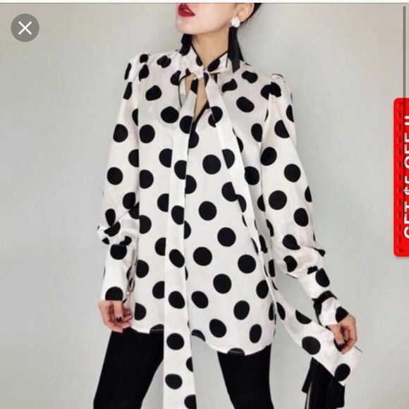 fdb98fa03b3 New Zara polka dots blouse with pearls